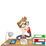 Businessman, desk, telephone call, paperwork