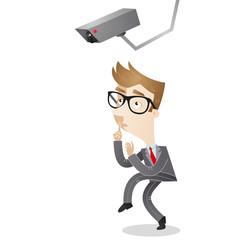 Businessman, surveillance camera, sneaking