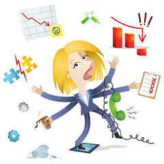 Businesswoman, losing control, multitasking, busy