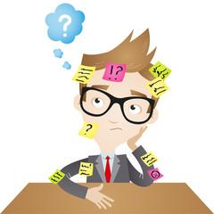 Businessman, desk, sticky notes, burnout, forgetful