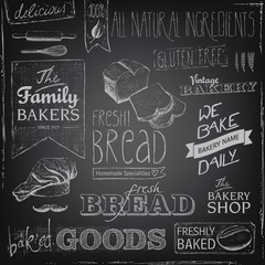bakery elements on a chalkboard