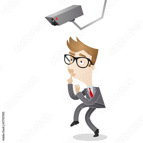Businessman, surveillance camera, sneaking