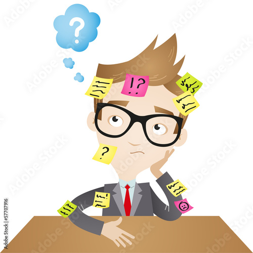 Businessman, desk, sticky notes, burnout, forgetful