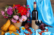 Wonderful autumn still life with fruit and wine