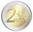 Two euro coin vector illustration