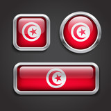 Tunisia flag glass buttons
