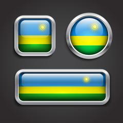 Rwanda flag glass buttons