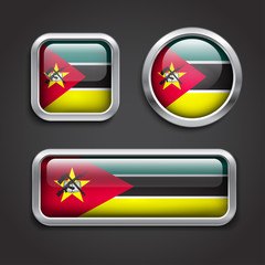 Mozambique  flag glass buttons