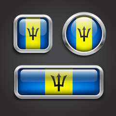 Barbados flag glass buttons
