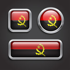 Angola  flag glass buttons
