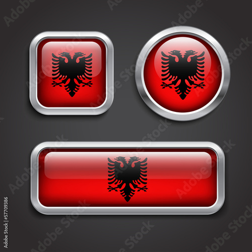 Albania  flag glass buttons