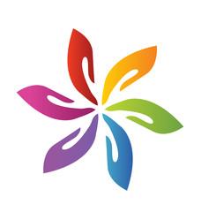 Hands teamwork flower logo vector