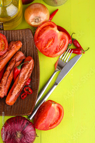 Delicious sausages with vegetables