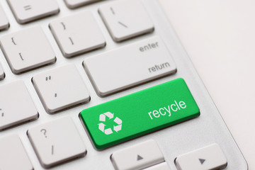 Recycle symbol on a Computer keyboard