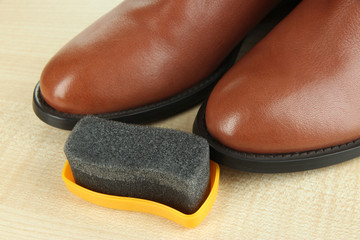 Shoe polishing close up