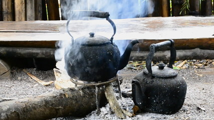 old kettle on bonfire of countryside  thailand