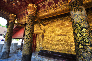 The golden wall of old temple