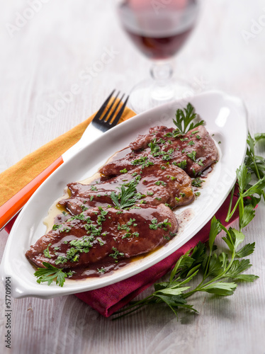 escalope cooked on red wine