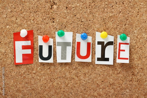 The word Future on a cork notice board