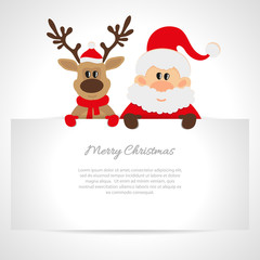 Santa Claus and reindeer with a place for text