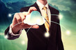 Businesman holding cloud computing icon