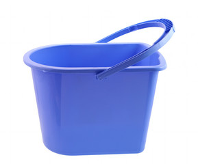 Blue bucket isolated on white background