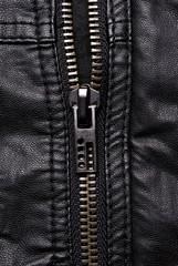 Close-up zipper on black leather jacket