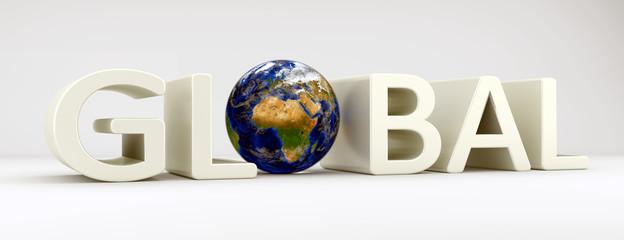 Weltkugel im Wort Global