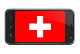 Switzerland flag on smartphone screen isolated