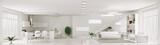 Interior of white apartment panorama 3d render - 57713330