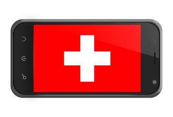 Switzerland flag on smartphone screen isolated
