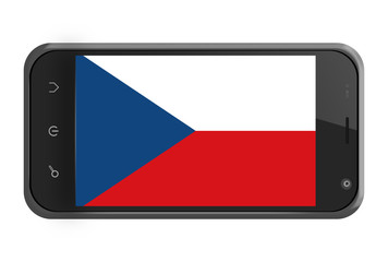 Czech Republic flag on smartphone screen isolated