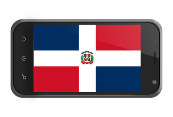 The Dominican republic flag on smartphone screen isolated