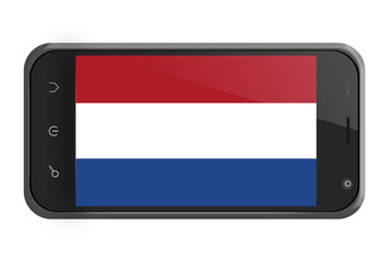 The Netherlands flag on smartphone screen isolated