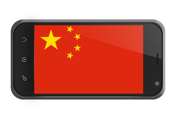 People's Republic of China flag on smartphone screen isolated