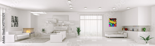 White apartment panorama interior 3d render