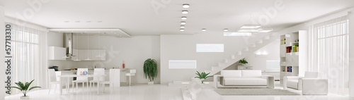 Interior of white apartment panorama 3d render