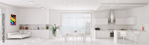 Interior of white apartment panorama