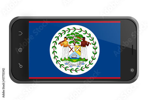 Belize flag on smartphone screen isolated
