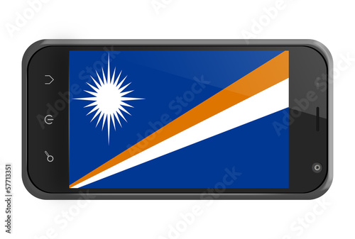 Marshall Islands flag on smartphone screen isolated