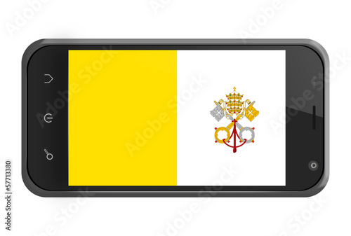 Vatican City flag on smartphone screen isolated