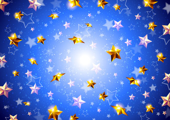 Golden stars on a blue background