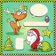 reindeer, owl and santa isolated with speech bubble