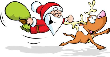 funny illustration of santa and reindeer flying