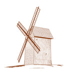 Old rural windmill - vector illustration.
