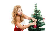 Beautiful girl holding christmas toy isolated