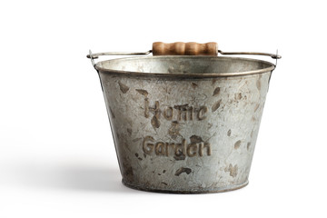 Tin bucket on a white background  with clipping path