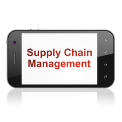 Marketing concept: Supply Chain Management on smartphone