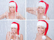Beautiful smiling young woman in Santa Claus clothes set