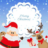 Santa Claus and reindeer background for Christmas